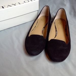 Ann Taylor Candace Suede Smoking Loafer Black 7.5